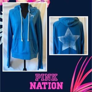 PINK Victoria's Secret Blue V-Neck Hoodie Size L